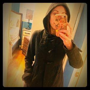 Grey pea coat with zipper, hood, pockets, toggles